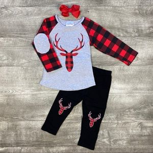New boutique buffalo plaid deer outfit